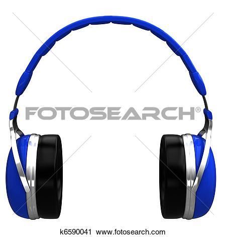 Clipart of Blue headphones k6590041.