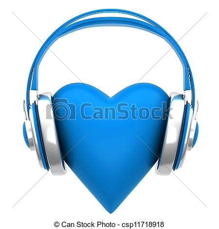 Clipart of Blue headphones with a heart on white background.