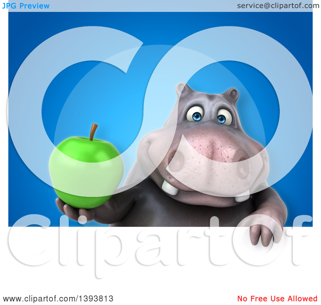 Clipart of a 3d Henry Hippo Character Holding a Green Apple, on a.