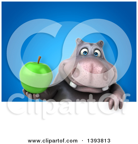 3d Henry Hippo Character Holding a Green Apple, on a Blue.
