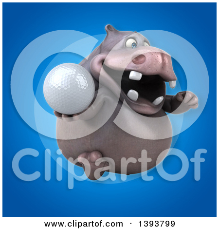 3d Henry Hippo Character Holding a Golf Ball, on a Blue Background.