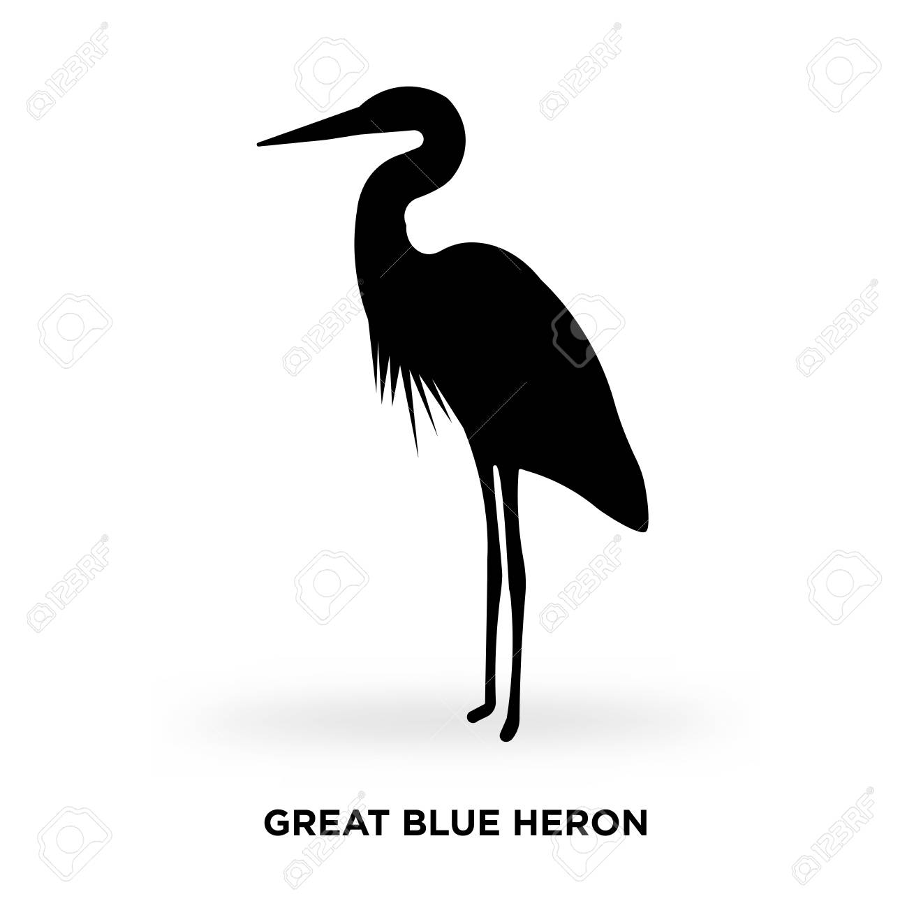 great blue heron silhouette.