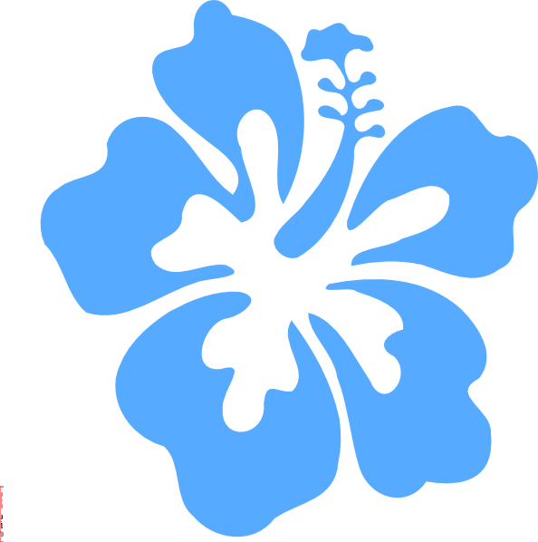 Blue Hibiscus Flower Clipart.