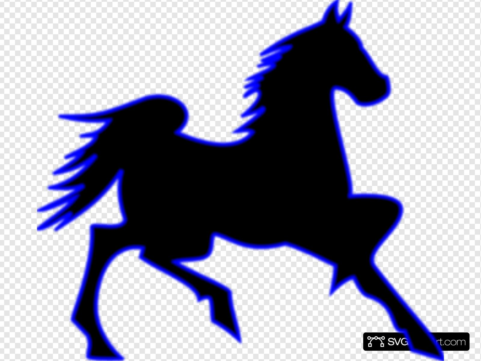 Blue Horse Clip art, Icon and SVG.