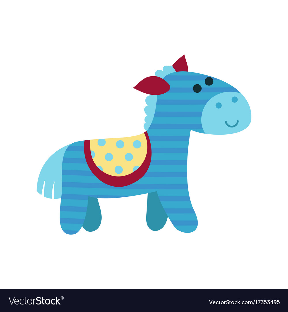 Cute cartoon blue horse animal toy colorful.