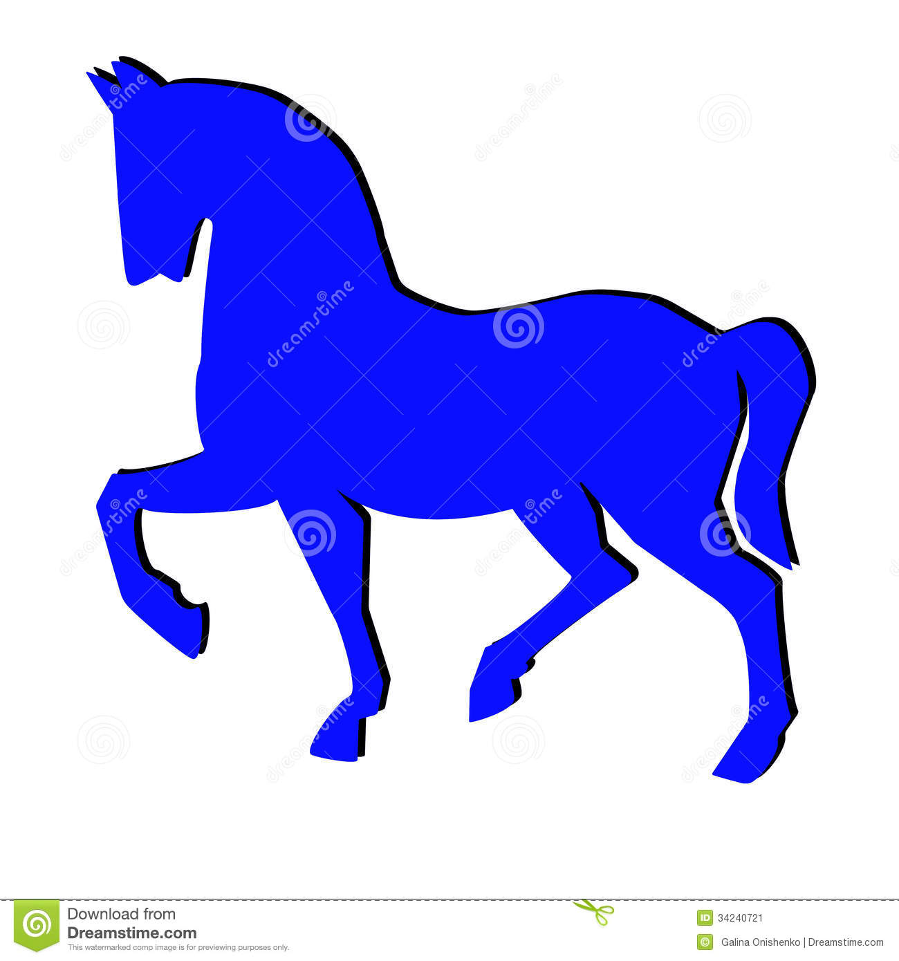 Blue Silhouette Of Horse On A White Background Stock Illustration.