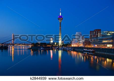 Stock Photograph of Dusseldorf Skyline at the Blue Hour k2844939.