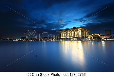 Stock Images of Iron mosque Putrajaya at blue hour.