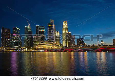 Stock Photograph of Singapore River Waterfront Skyline at Blue.
