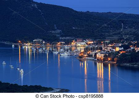 Pictures of Island of Ilovik blue hour view.