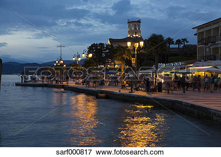 Picture of Italy, Lake Garda, Lazise, waterfront promenade at blue.