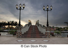 Stock Images of Kampung Morten Bridge Over Melaka River Waterfront.