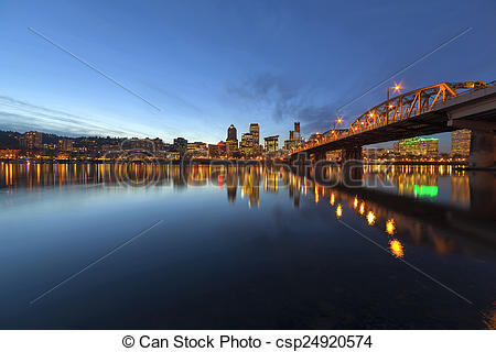 Picture of Portland Downtown Skyline by Hawthorne Bridge at Blue.