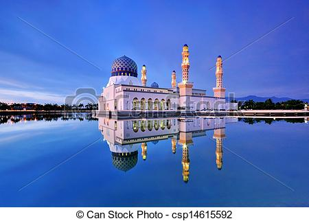 Stock Photographs of Kota Kinabalu Mosque at Blue Hour.