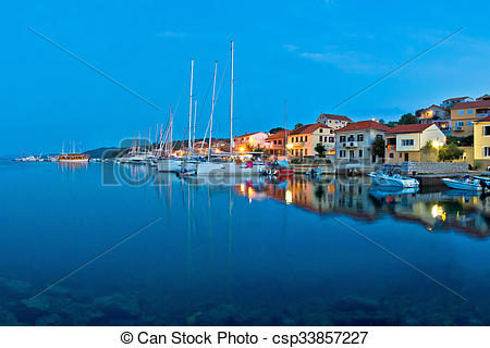 Stock Photo of Sali harbor blue hour view, island of Dugi, Croatia.