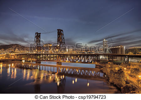 Stock Photo of Steel Bridge Over Willamette River at Blue Hour.
