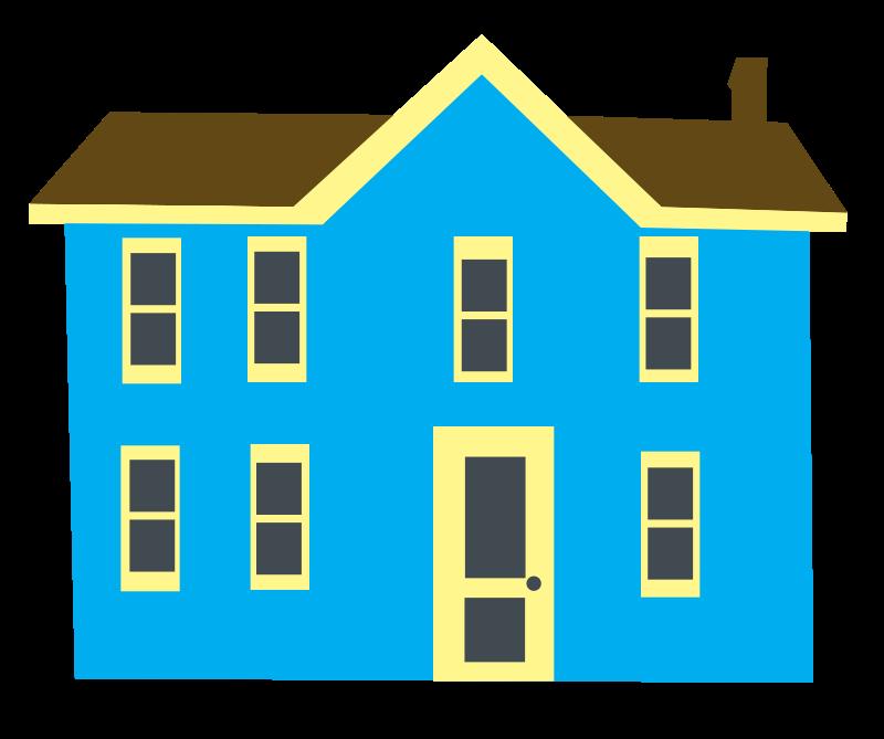 Free Blue House Clip Art.