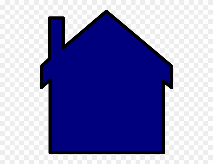 Blue House Outline Clipart.