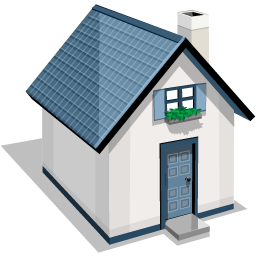 White And Blue House Icon, PNG ClipArt Image.