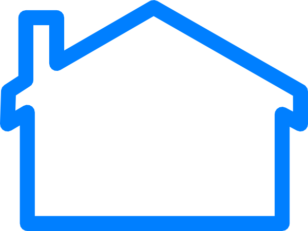 House outline blue house clip art at vector clip art.