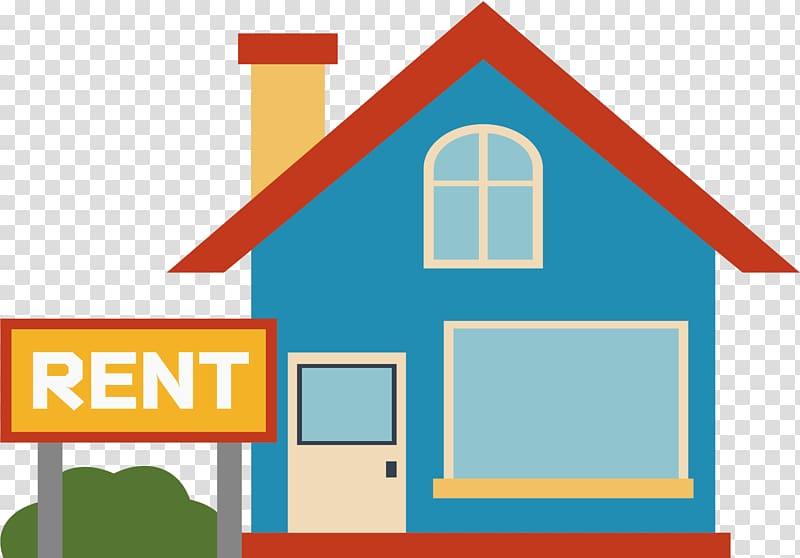 Blue house illustration, House Renting u51fau79dfu623f Home, A house.