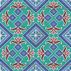 Knitted Seamless Pattern in turquoise and blue hues.