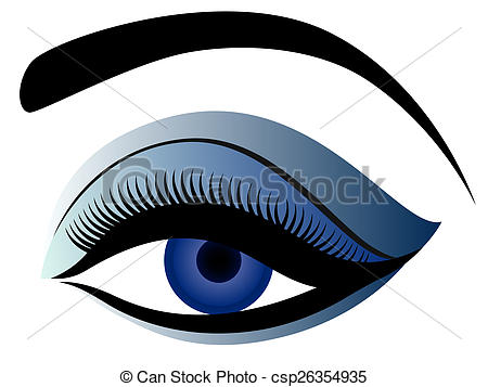Drawings of Eye with fluffy eyelid in blue hues.