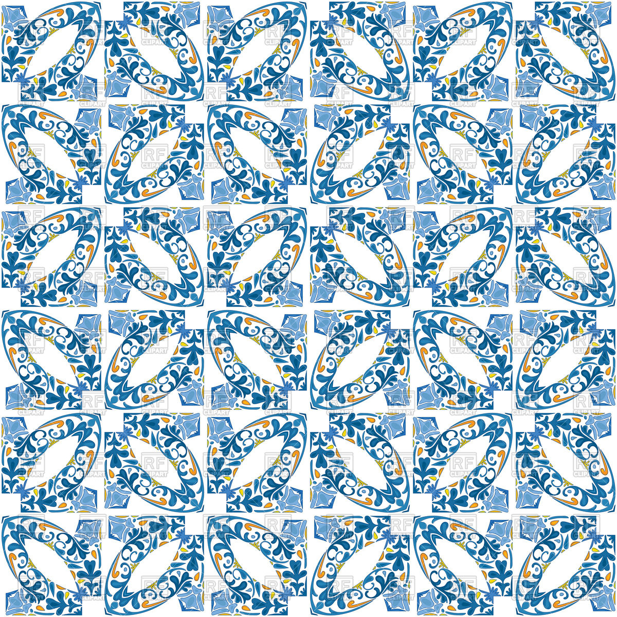 Seamless pattern in blue hues Vector Image #134930.