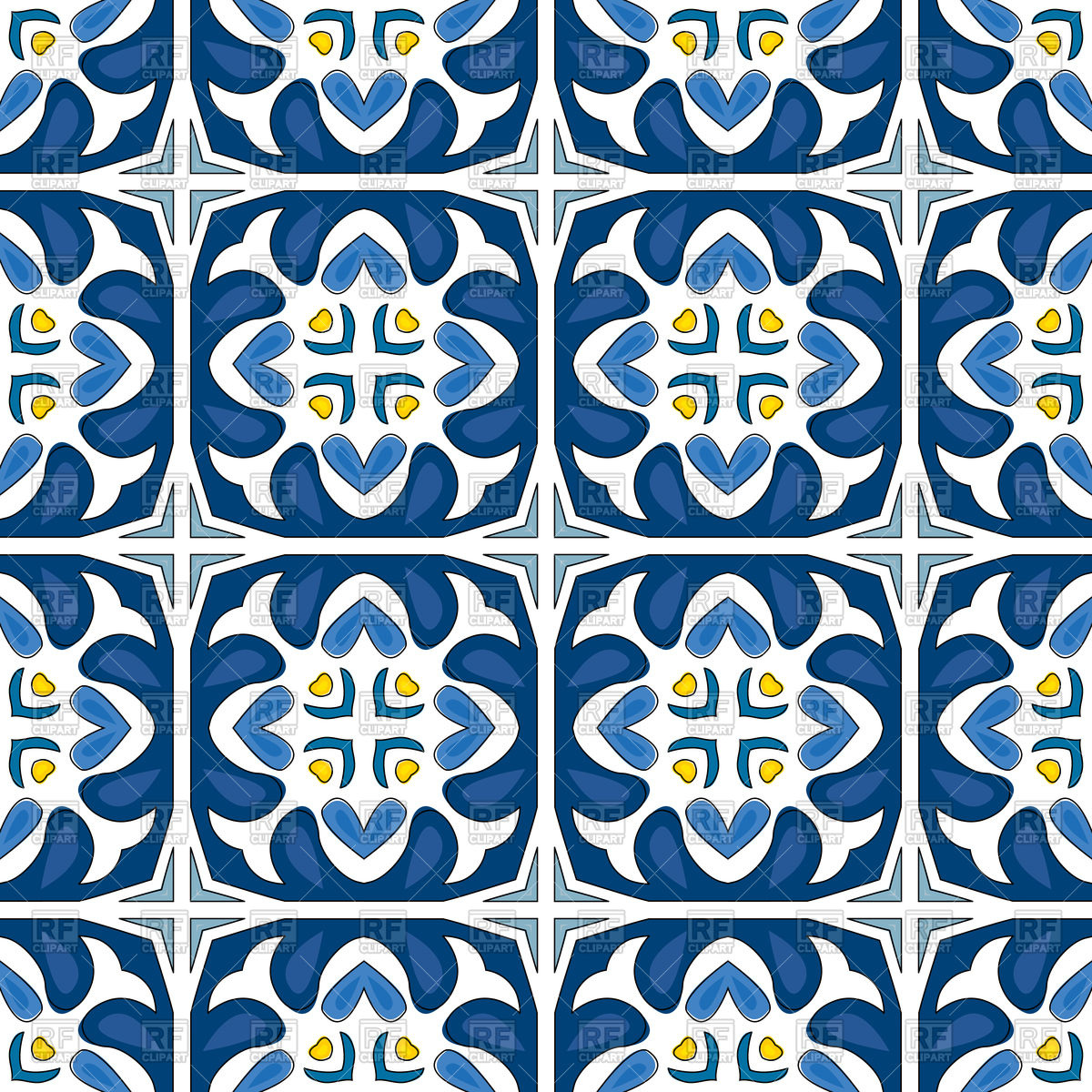 Portuguese tiles in blue hues Vector Image #130646.