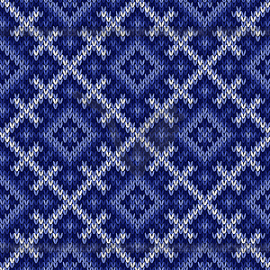 knitted pattern in cool blue hues.