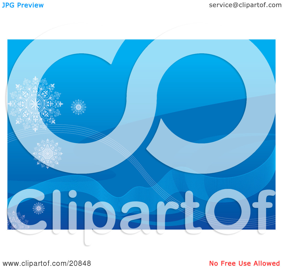 Clipart Illustration of a Blue Background With Waves In Different.