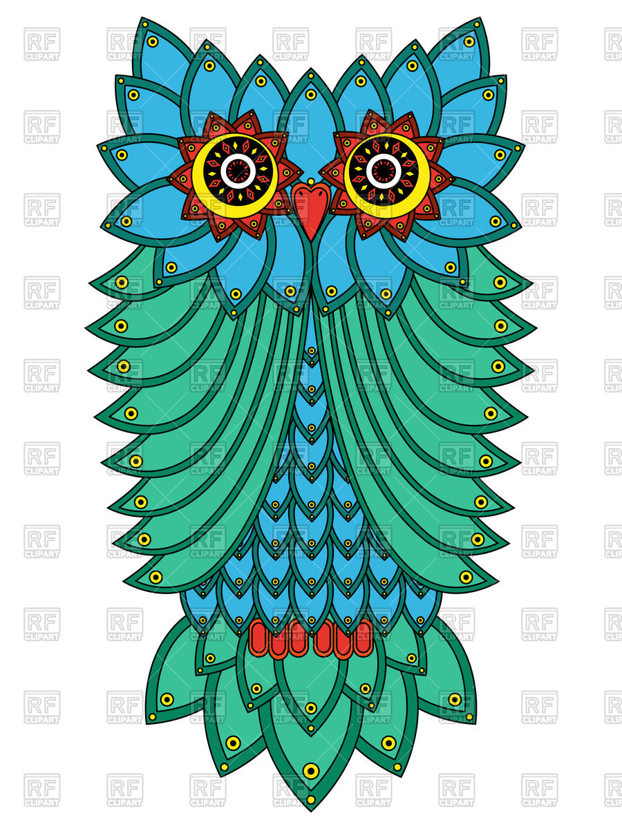 Big serious owl mainly in blue and green hues isolated on a white.