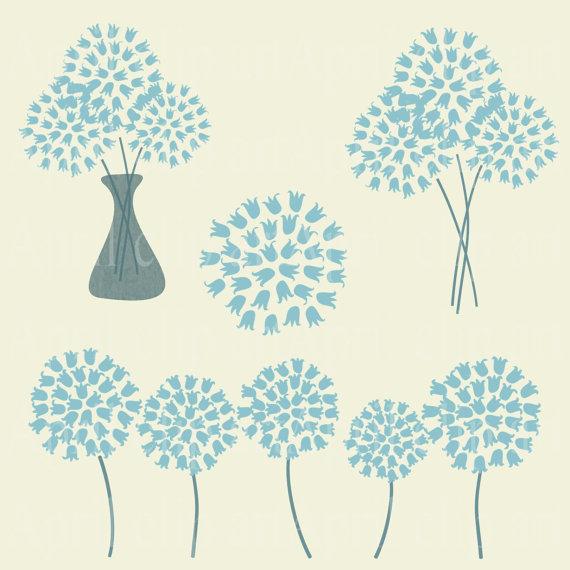 Blue Hydrangea Flowers Clip Art.