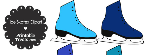 Blue Ice Skates Clipart — Printable Treats.com.