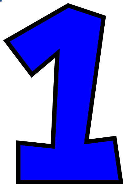 Blue number 1 clipart.