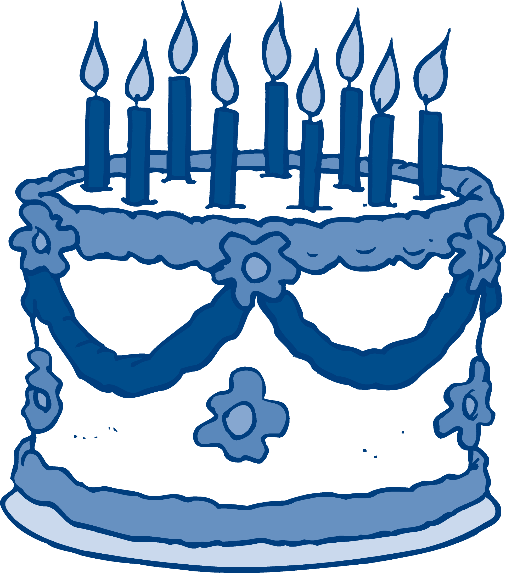 Blue birthday cake clipart.