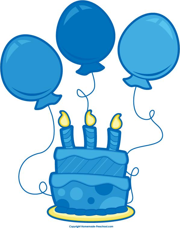 Blue birthday cake clipart.
