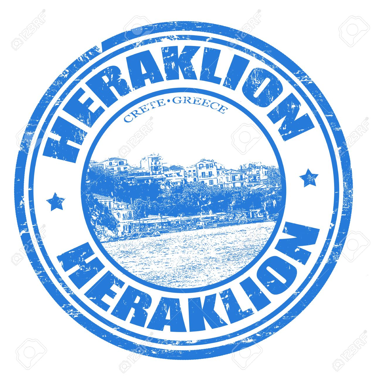 Grunge Rubber Stamp With The Heraklion City Of Crete Island.