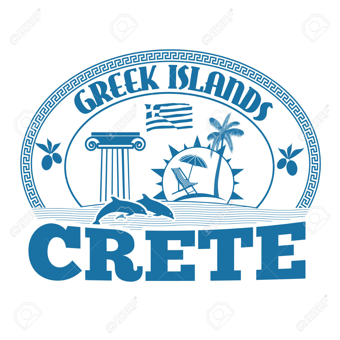Greek Islands, Crete, Stamp Or Label On White Background, Vector.