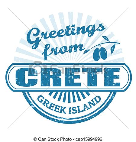 EPS Vectors of Crete greek island, stamp.
