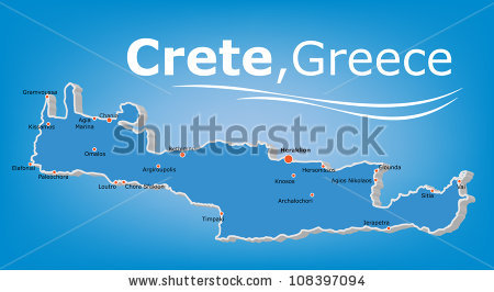 Crete Map Stock Images, Royalty.