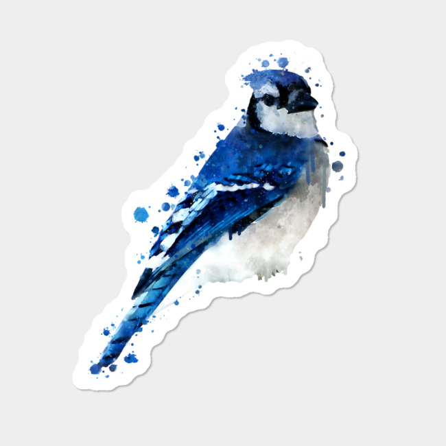 Watercolour Blue Jay Bird Sticker By Dramabite Design By Humans.