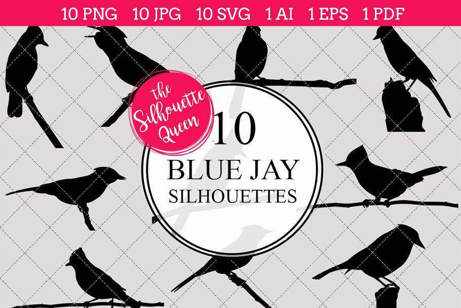 Blue Jay Silhouette Clipart Clip Art.