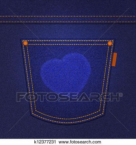 Heart on jeans pocket on blue denim background Clip Art.