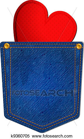 Blue Jean Pocket with Heart Clipart.