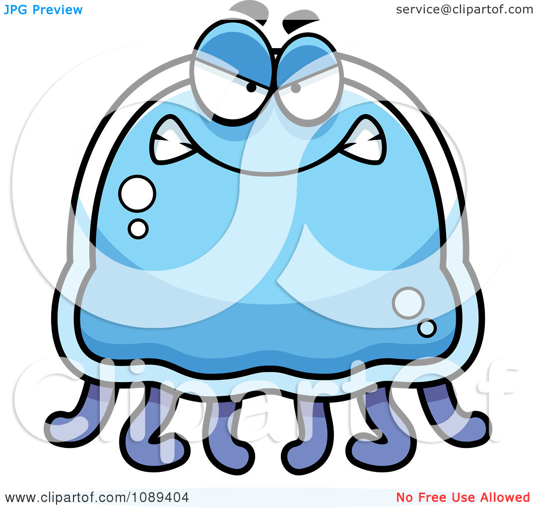 Clipart Mad Blue Jellyfish.