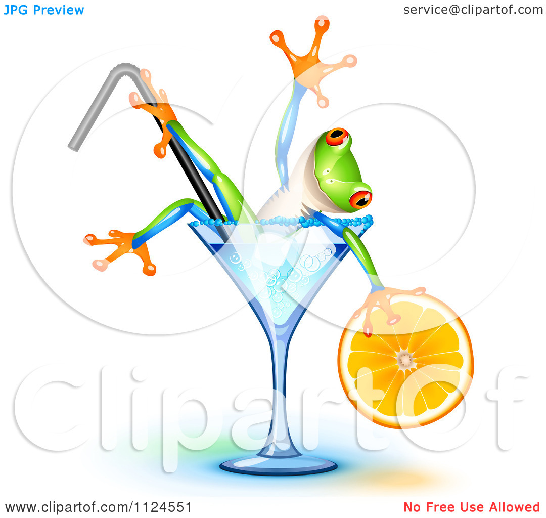 Clipart Of A Happy Frog Holding An Orange Wedge And Soaking In A.