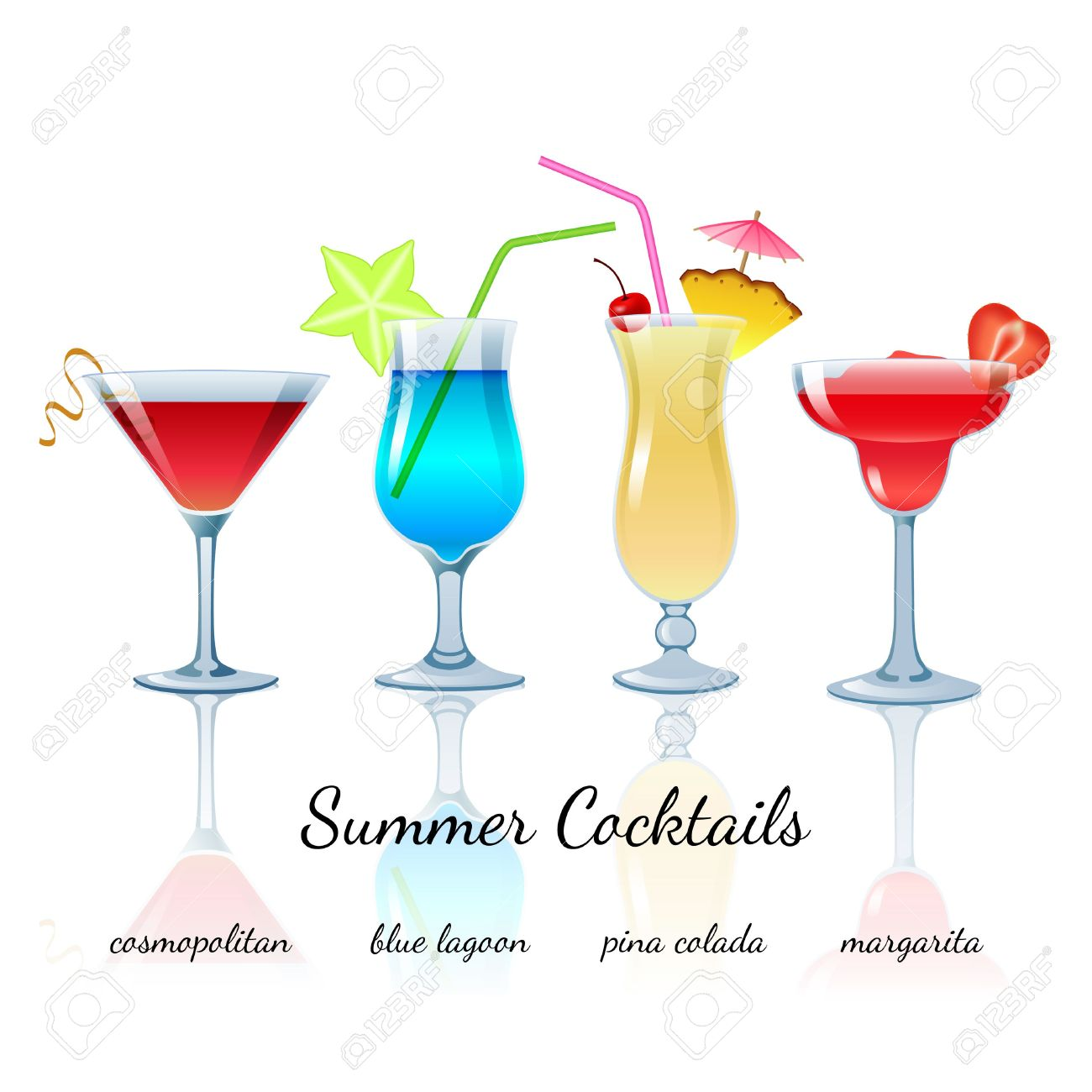 Summer Cocktails Set (isolated): Cosmopolitan, Blue Lagoon, Pina.