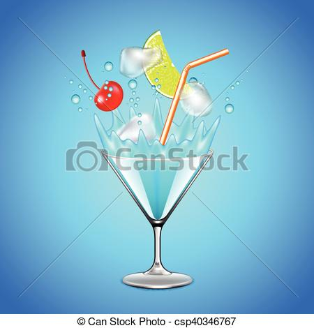 Clip Art Vector of Ice cubes and fruits falling into blue lagoon.
