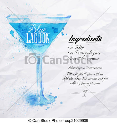 Vector Clipart of Blue Lagoon cocktails watercolor.